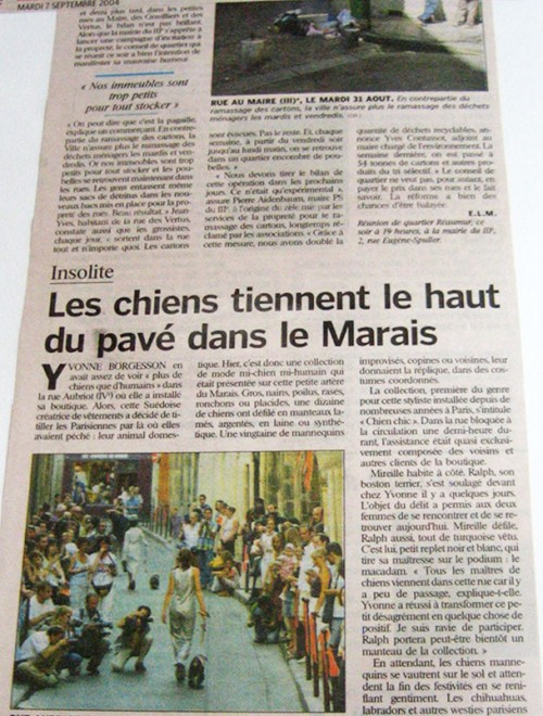 Yvonne Borjesson Chien Chic Press, Le Parisien