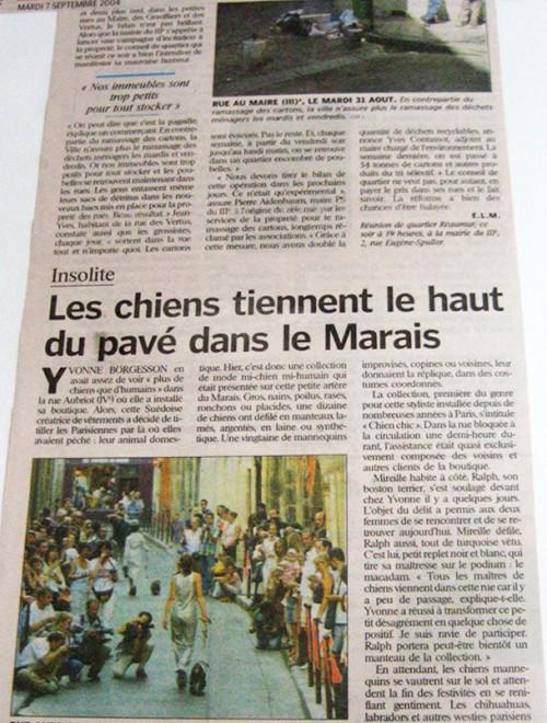 Yvonne Borjesson Chien Chic Press, Le Parisien