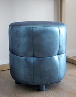 Royal-tabouret-in-Antique-metallic-Leather-Yvonne-Borjesson-design